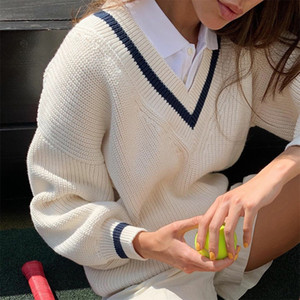 Çizgili V Yaka Uzun Kollu Örme Triko Kadınlar Kore Moda Preppy Y2K Örme Süveter Casual 90'lar Triko Sonbahar