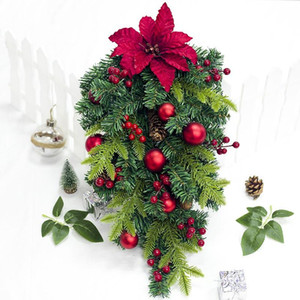 New Christmas Artificial Leaves with Flowers Xmas Tree Decoration for Home Wall Hanging Flowers Plant Home Bar Shop Decoration