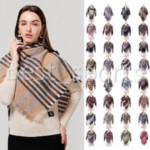 39 Colors Fashion Women Plaid Scarves Grid Tassel Shawl Winter Imitation Cashmere Neckerchief Lattice Triangle Blanket Scarf CYZ2851