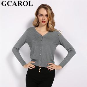 GCAROL Spring Automne Hiver Vol V Conteaux Cardigan Cardigan 30% Pull de laine Stretch Tricot à poitrine unique