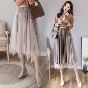 TingYiLi Two Sides Wear Mesh Velvet Skirt Long Autumn Winter Irregular Tutu Skirt Black Gray Coffee Beige Tulle Skirts Womens