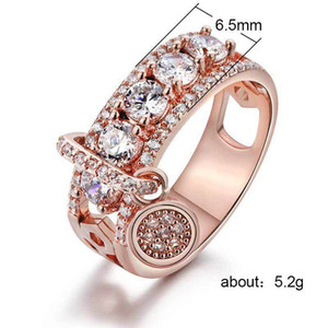 New Plating Disc Shiny Gem Wedding Rings Fashionable Diamonds Creative Zircon Women's Rings Jewelry Wholesale