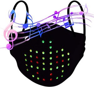 Led Voice Activated face mask Rechargeable Glowing Luminous Dust Mask for Christmas Party Festival Dancing Rave Music Party Mask