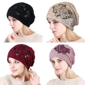 Turban Autumn 2020 Warm Beanie Cap Spring Lace Flower Skullies Caps New Headscarf Women Casual Bonnet Beanies Hat QJ7J