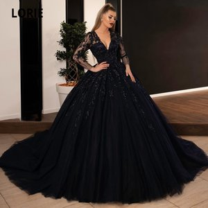 LORIE palla abito nero abiti da sposa Sequin Lace Appliques Abiti da sposa con maniche lunghe Lace-up principessa partito Dress Plus Size Q1110