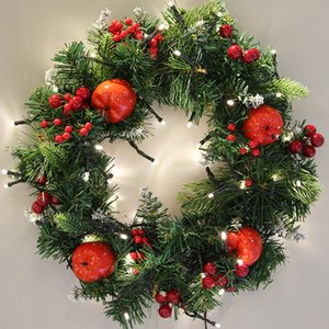 Luxury 30cm Christmas Wreath with Shatterproof Ball Ornaments Artificial Simulation Flower Christmas wreath trumpet door hanging wreath