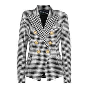 liva girl 2020 Fashion European Casual Slim fitness Metal Gold Button Jacket White Black Khaki Colors Female Blazer