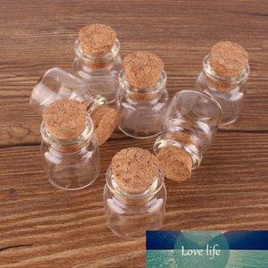 100pcs 22*25*12.5mm 4ml Mini Glass Wishing Spice Bottles Tiny Jars Vials With Cork Stopper pendant crafts wedding gift