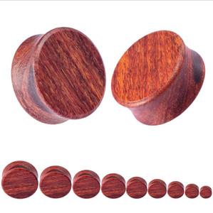 Red Wood Ear Plug and Tunnel Brinco Orelha Guages Plug Maca Expanquente Dermal Piercing Oleja Mujer Maca Masculina Jóias Corporais