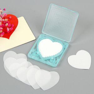 Portable Heart Shape Paper Soap Disposable With Box Mini Soap Paper Travel Bath Paper Hand-washing Soap F3962