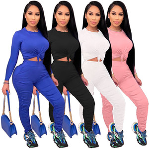 Womens Designer Tracksuits Fashion Long Sleeve Long Stacked Pants Womens 2PCS Sets Casual Solid Color Females Clothing