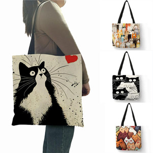 Designer Handbags Cute Cartoon Cat Print Linen Tote Bag Women Fashion Handbags Shopping Shoulder Bags OWD4560