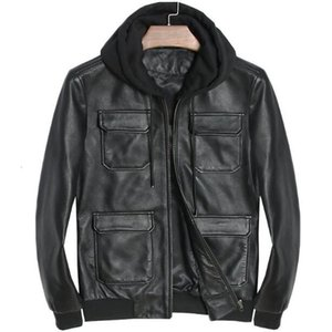 Genuine Leather Jacket Hoodie Motorcycle Real Sheepskin For Men Vintage Winter Spring Hooded Casual Black Slim Fit Coats Top