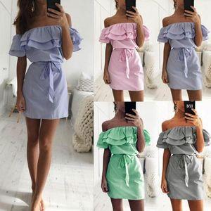 Les femmes des robes en tissu pas cher Robe à rayures Jupettes été Ruffle Collar 2020 Bandage Sundress Casual Sexy Vestidos De Festa OYM0304