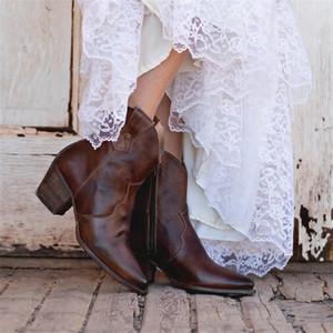 Cowboy-Knöchelstiefel für Frauen Retro Retro-Spitze-Square Hochhacker-Schuhe braun grün Western Cowgirl Herbst Frauenstiefel