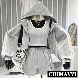 Sports Suit Women's Spring Summer New Korean Casual Loose Hooded Running Jacket + Tank Top + Shorts Three-Piece Sets 201007