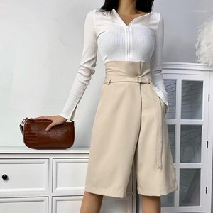 Lo.ve Summer Women's Knee-length Pants High Waist Wide Leg Elegant Female Trousers 2020 Fashion Casual Office Lady Breeches1