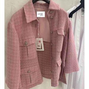 Cosmicchic 2020 Runway Frauen Tweedjacke Single Breaked Rosa Plaid Tasche Kurz Mantel Weave Jacken Elegante Bürokleidung