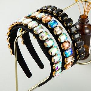 Baroco Super Flash Deedband Female Color High-End Luxury Diamond Simple Headband Fiesta Boda Multicolor Acrílico Tocado de acrílico