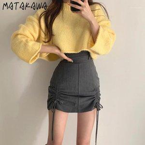 Matakawa Color Color Cuello redondo Suéteres Sweater de punto corto Ropa de invierno Mujeres de manga larga coreanas Tops1