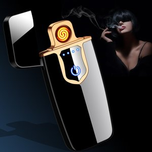 New Touch Screen Electronic Ignition Electric Hot Wire Windproof Charging Electric Lighter Ultra-Thin USB Charging Lighter