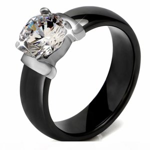 6mm White Black Ceramic Rings Plus Big Cubic Zirconia For Women Stainless Steel Women Wedding Ring Engagement Jewelry Never Fade