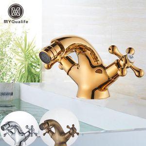 MyQuAlife Gold Bidet Basin Faucet Dual Handles Water Bathroom Sink Blass One Orificio Mazo Montado Moxer de Agua Tap1