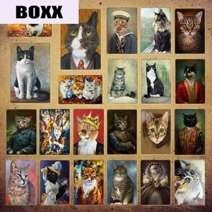 Funny Animal Cat Metal Signs Prints Wall Sticker Painting Pictures Vintage Poster Kids Bedroom Pub Bar Home Kitchen Decor YI-079