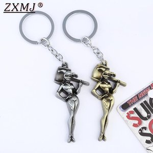 Zxmj suicide squad quinn keychain keyring retro farben gold silbrige clown mädchen figur keychain für frauen mann geschenk1