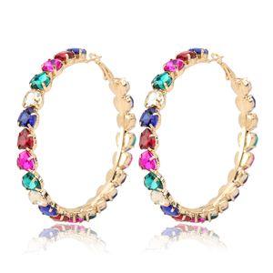 Luxury Women Hoop Earrings Gold Silver Colorful Fashion Jewelry Heart Crystal Rhinestone Big Statement Wedding Party Huggie Earrings Gifts
