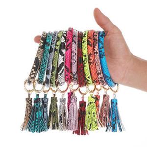 Llavero pulseras borla del grano del leopardo de la serpiente de cuero artificial regalos impresos la celebración de días moda pulseras colgante del bolso WY333DXP