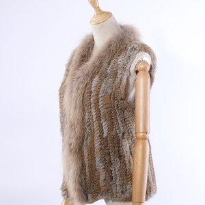 Supevstddio 2020 новый женский подлинный кролик мех трикотажный енот меховой воротник жилет жилетные жилеты реальный мех без рукавов Gilets оптовая продажа LJ201202