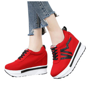 VN Abstract Letter ankle bare platform ankle canvas shoes thick sole lace up running shports sneakers for women female shoes
