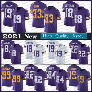 18 Justin Jefferson Jersey 33 Dalvin Cook Adam Thielen Harrison Smith Randy Moss Kirk Cousins Kyle Rudolph Danielle Hunter Futbol Formaları