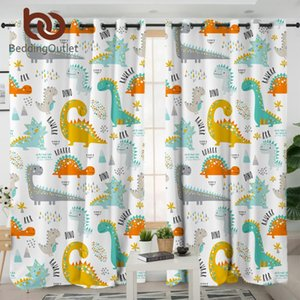 BeddingOutlet Dinosaur Blackout Curtain for Kids Room Jurassic Bedroom Curtain Cartoon Window Curtain for Boys Colorful cortinas Towel