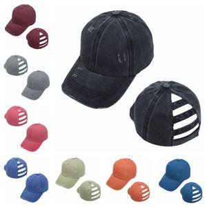 Washed Ponytail Hat Torn Baseball Cap Cotton Unisex Visor Caps Outdoor Sports Shading Soild Color Snapbacks Breathable Party Hat LJJP608