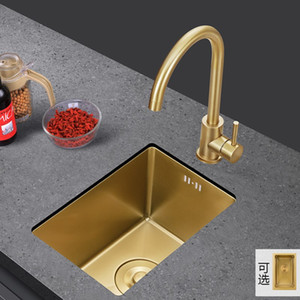 Rose Gold Nano 304 Stainless Steel Kitchen Sinks Single Bowel Mini Sinks for Balcony Small Apartment Bar Counter