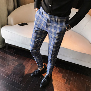 Fashion-New 100% High Quality Plaid Pant Formal Wedding Mens Slim Fit Suit Pants Fashion Casual Straight Dress Trousers