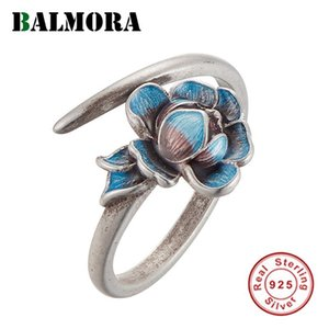 BALMORA 925 Sterling Silver Retro Lotus Open Stacking Wedding Rings for Women Party Enameling Elegant Fashion Jewelry Anillos