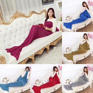 Mermaid Blanket High Quality Handmade Knitted Mermaid Tail Crochet Blanket Quilt Rug Wrap Soft Mat Throw Adult