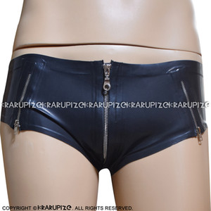 Black Sexy Latex Briefs With Crotch And Sides Zippers Rubber Shorts Underpants Underwear 0172