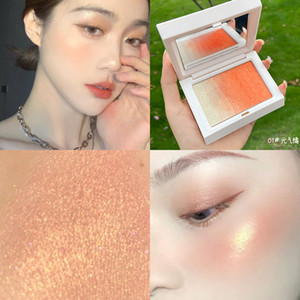 Highlighter Powder Glitter Orange Pink Blush Palette Makeup Glow Face Blusher Soft Girl Contour Shimmer Illuminator Highlight