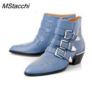 MStacchi Women Genuine Leather Gold And Silver Rivet Susanna Studded Women Ankle Boots Round Toe Flower Boots Mujer Women Luxury 201020