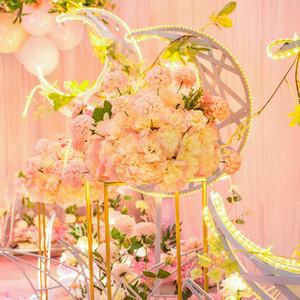 Personalice la pieza central de la boda 38cm carretera de la flor de la flor Crisantemo Peony Flowers Flores de hierro forjado Frame de hierro de boda Ventana de la ventana