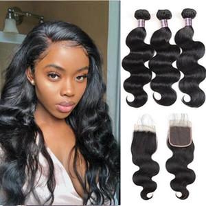 Пучки человеческих волос с закрывающим бразильским волосом Body Wave 3PCS С 4x4 Lace Closure качеством дешевых хороших переплетениями волос человека
