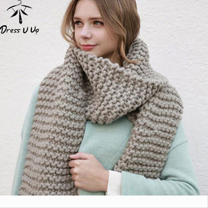 Designer Dress U Up New Solid Color Thick Wool Scarf Female Autumn and Winter Thick Knit Scarf Women Handmade Scarv