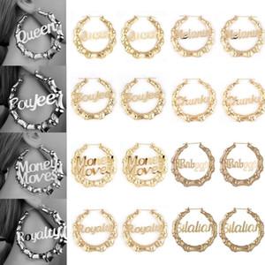 MLING 8 Style Vintage Gold Earrings Fashion Hollow Letter Bamboo Hoop Earrings for Women