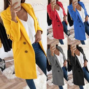 Donne New cappotto di lana invernale manicotto lungo sottile Miscele Giacche Turn-giù il collare autunno Ufficio signora Long Wool cappotti Plus Size