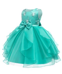 Children's princess dresses, children's clothing, big children's sleeveless tutu embroidered dress, birthday party performangreen ce g dress