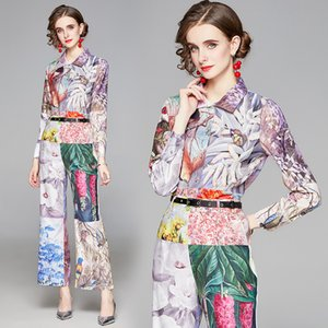 High-end Fashion Women Set Shirt and Pant 2021 Spring Summer Two Piece Set Temperament Lady Blouse Trouser Printed Suits OL Girl Sets
